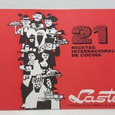 Catálogos publicitarios: LASTER - 21 RECETAS INTERNACIONALES DE COCINA. Lote 182864180