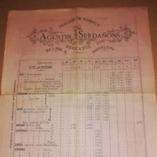 Catálogos publicitarios: 1883 CATALOGO PRECIOS FABRICA AGUSTIN SERDAÑONS BARCELONA. Lote 183739381