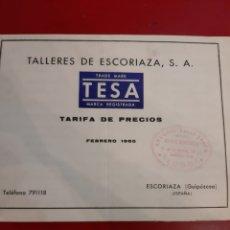 Catálogos publicitarios: TARIFA TESA TALLERES ESCORIAZA GUIPUZCUA 1965. Lote 183994021