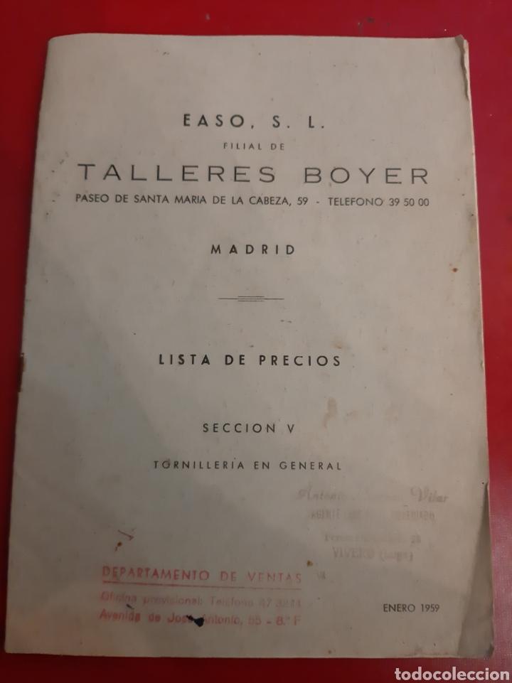 1959 EASO TALLERES BOYER MADRID LISTA PRECIOS TIRNILLERIA AGENTE VIVERO LUGO (Coleccionismo - Catálogos Publicitarios)