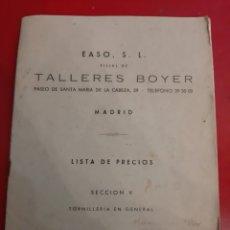 Catálogos publicitarios: 1959 EASO TALLERES BIYER MADRID LISTA PRECIOS TIRNILLERIA AGENTE VIVERO LUGO. Lote 183999441