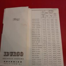 Catálogos publicitarios: 1964 /65 INDURGO GUERNICA VIZCAYA TARIFAS CUCHARAS DE MESA TENEDORES CUCHILLOS. Lote 184004976