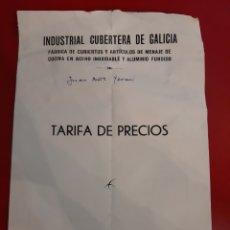 Catálogos publicitarios: CULLEREDO CORUNA INDUSTRIAL CUBERTERA GAKICIA TARIFAS JAY. Lote 184005283
