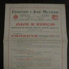 Catálogos publicitarios: CATALOGO PUBLICIDAD-EDMUNDO Y JOSE METZEGER-APARATOS DE DESINFECCION-VER FOTOS-(V-18.412). Lote 185914792