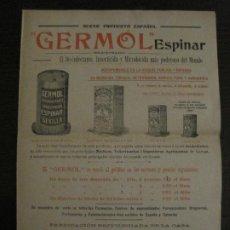 Catálogos publicitarios: CATALOGO PUBLICIDAD-GERMOL ESPINAR-INSTRUCCIONES FUNCIONAMIENTO-FARMACIA-VER FOTOS-(V-18.413). Lote 185914930