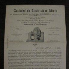 Catálogos publicitarios: CATALOGO PUBLICIDAD-SOCIEDAD ELECTRICIDAD ALIOTH-MADRID-AÑO 1901-VER FOTOS-(V-18.414). Lote 185915501