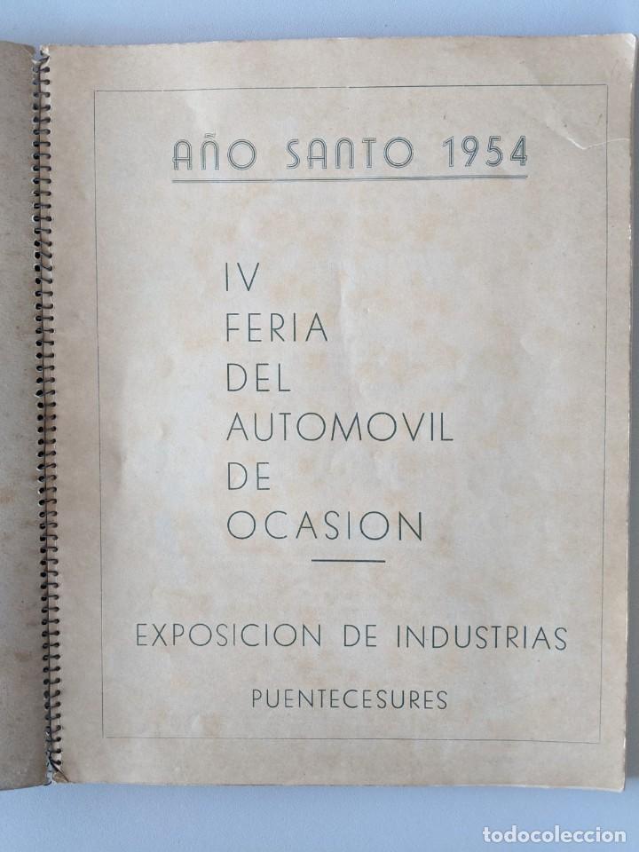 Catálogos publicitarios: RRR 4ª REVISTA FERIA DEL AUTOMOVIL DE OCASION - 1954 - PUENTECESURES - GALICIA - Foto 2 - 185983495