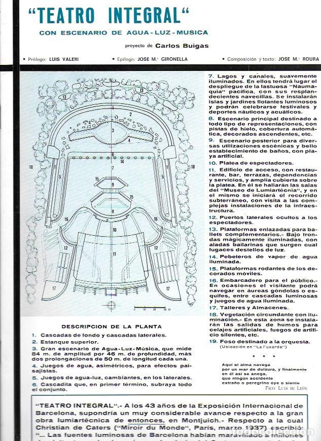 TEATRO INTEGRAL CON ESCENARIO DE AGUA-LUZ-MÚSICA PROYECTO DE CARLOS BUIGAS. 32X22CM. 24 P. (Coleccionismo - Catálogos Publicitarios)