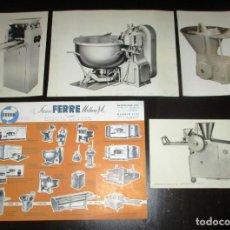 Catálogos publicitarios: FERRÉ MATHEU. HOJA PUBLICITARIA Y CUATRO FOTOGRAFÍAS DE MAQUINARIA DE PANADERÍA ORIGINALES DE 1963.. Lote 191194592