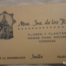 Catálogos publicitarios: ANTIGUA TARJETA PUBLICITARIA.FLORES Y PLANTAS.NUESTRA SEÑORA DE LOS REYES.ENCARNACION.SEVILLA. Lote 191215502