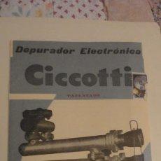 Catálogos publicitarios: ANTIGUO FOLLETO SOBRE.CICCOTI ESPAÑOLA.DEPURADOR ELECTRONICO.BILBAO . Lote 191349488