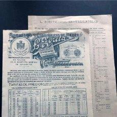 Catálogos publicitarios: CATALOGO Y TARIFAS / NORIAS - L. ZORITA / VALLADOLIDA 1906 / LISTADO DE NORIAS POR ESPAÑA. Lote 191379581