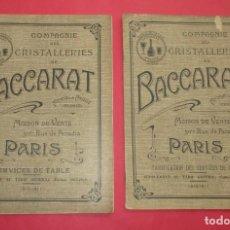 Catálogos publicitarios: 2 CATÁLOGOS DE CRISTALERIA DE BACCARAT PARA 1910-1911. UNO DE MATERIAL Y OTRO CON PRECIOS.. Lote 191569460