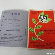 Catálogos publicitarios: TRÍPTICO + IMPRESOS - FARMACIA, MEDICO - SEDOFREN, LABORATORIOS MILO, ZARAGOZA - SEDANTE INYECTABLE. Lote 191985621