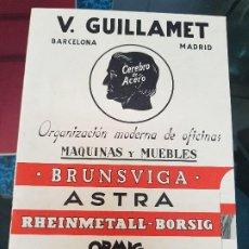 Catálogos publicitarios: ANTIGUO CATALOGO MAQUINAS DE ESCRIBIR MUEBLES OFICINA GUILLAMET BARCELONA. Lote 192213305