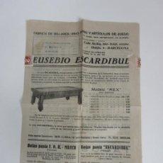Catálogos publicitarios: CATÁLOGO PUBLICITARIO FABRICA BILLARES, PING PONG EUSEBIO ESCARDIBUL - PRECIOS - AÑO 1947. Lote 193556972