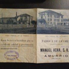 Cataloghi pubblicitari: FABRICA DE LICORES MANUEL ACHA AMURRIO. ÁLAVA. CATÁLOGO PRODUCTOS. Lote 193807578