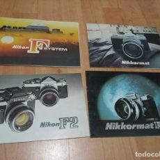 Catálogos publicitarios: LOTE DE 4 CATALOGOS FOLLETOS MANUAL DE NIKON / NIKKORMAT. Lote 194212875