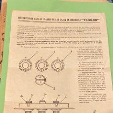 """Catálogos publicitarios: INSTRUCCIONES CAJAS DE SEGURIDAD """"TESORO"""". Lote 194216133"""