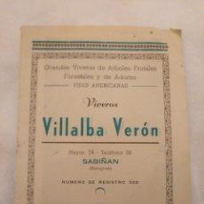 Catálogos publicitarios: CN LISTÍN DE PRECIOS VIVEROS VILLALBA VERÓN. SABIÑÁN (ZARAGOZA) AÑO 1960. Lote 194244366
