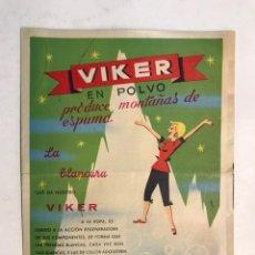 Catálogos publicitarios: VIKER EN POLVO, PRODUCE MONTAÑAS DE ESPUMA. PUBLICIDAD COMERCIAL PRODUCTOS DE LIMPIEZA... (H.1950?). Lote 194245411