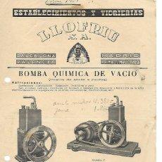 Catálogos publicitarios: FOLLETO PUBLICIDAD BOMBA QUIMICA DE VACIO - LLOFRIU,S.A., BARCELONA, VALENCIA. MADRID, PALMA MALLORC. Lote 194406855