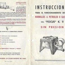 Catálogos publicitarios: FOLLETO PUBLICITARIO DE HORNILLOS A PETROLIO O GAS - FOCUS - BADALONA - IMP.A.G.GIRALT. Lote 194407382