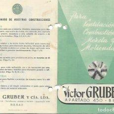Catálogos publicitarios: FOLLETO PUBLICITARIO - VICTOR GRUBER Y CIA.- BILBAO - VENTILACION - COMBUSTION - MEZCLA Y MOLIENDA. Lote 194408225