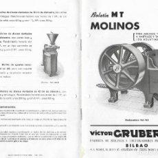 Catálogos publicitarios: FOLLETO PUBLICITARIO - VICTOR GRUBER Y CIA.- BILBAO - FABRICA DE MOLINOS Y TRITURADORES FUNDADA 1907. Lote 194488726
