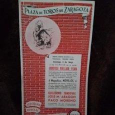 Catálogos publicitarios: PROGRAMA TOROS. ZARAGOZA. 1963. 11 PGS. NUEVO.. Lote 194504410