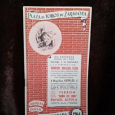 Catálogos publicitarios: TAUROMAQUIA / PROGRAMA DE TOROS. ZARAGOZA. AÑO 1964. 11 PÁGINAS. NUEVO. Lote 194596767