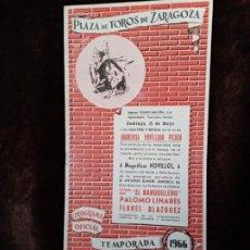 Catálogos publicitarios: TAUROMAQUIA / PROGRAMA DE TOROS. ZARAGOZA. AÑO 1966. 11 PÁGINAS. NUEVO.. Lote 194604282