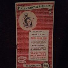 Catálogos publicitarios: TAUROMAQUIA / PROGRAMA DE TOROS. ZARAGOZA. AÑO 1968. 11 PÁGINAS. NUEVO.. Lote 194611666