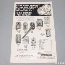 Catálogos publicitarios: CARTEL-CATÁLOGO DE MÁQUINAS DE MÚSICA JUKE BOX. ATLAS MUSIC COMPANY. CHICAGO. USA. 1955.. Lote 194620501