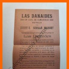 Catálogos publicitarios: ANUNCIO EDITORIAL - LAS DANAIDES, UN CAFE DE CAMARERAS Y BRASAS Y NIEVE - E. SEVILLA RICHART. Lote 194623658