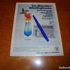 Catálogos publicitarios: PUBLICIDAD 1969: ACONDICIONADOR DE AIRE WETINGHOUSE. Lote 194646546