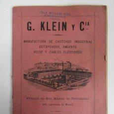 Catálogos publicitarios: CATÁLOGO G. KLEIN Y Cª - MANUFACTURA DE CAUTCHUC, ETC - FÁBRICA EN SAN MARTIN DE PROVENSALS - 1896. Lote 194650440