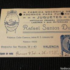 Catálogos publicitarios: RAFAEL SANTOS DUART. ADORNOS PARA FUNERARIA, Y JUGUETES. VALENCIA. Lote 194712386