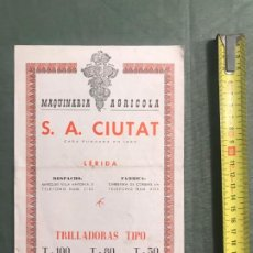 Catálogos publicitarios: TRILLADORAS - MAQUINARIA AGRICOLA S.A.CIUTAT - LERIDA. Lote 194716595