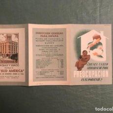 Catálogos publicitarios: LA SUD AMÉRICA - COMPAÑÍA DE SEGUROS SOBRE LA VIDA - TRIPTICO CON SELLO AGENTE DE CERVERA - LERIDA. Lote 194718803