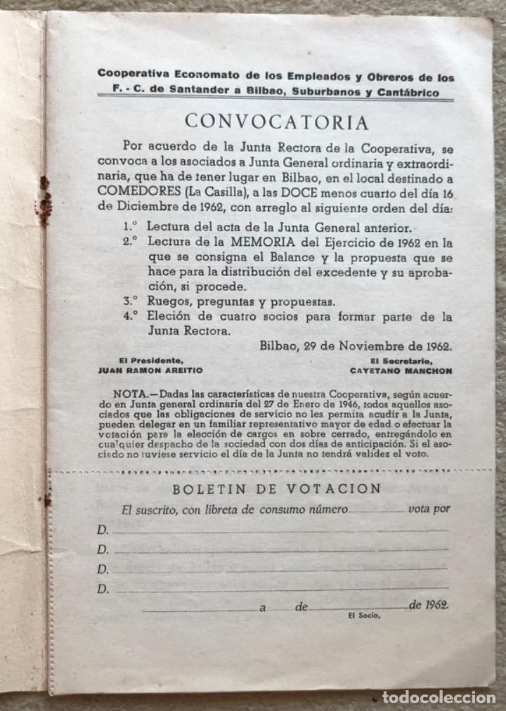 Catálogos publicitarios: Memoria cooperativa empleados y obreros de los ferrocarriles de Santander a Bilbao - Año 1962 - Foto 2 - 194787340