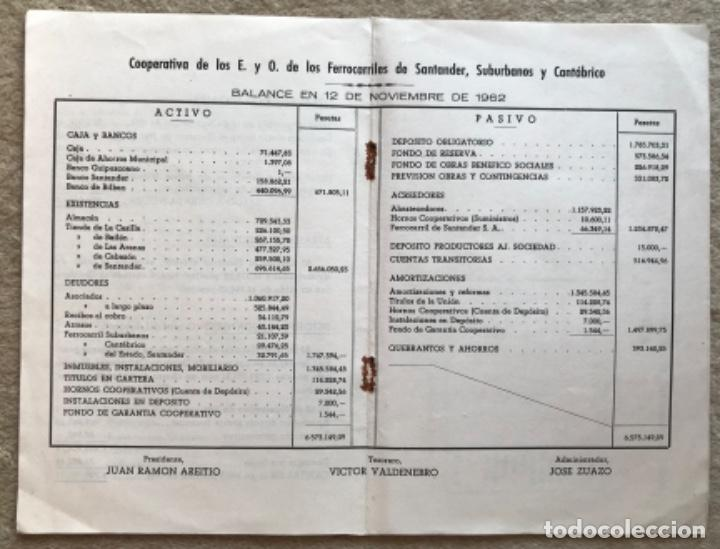 Catálogos publicitarios: Memoria cooperativa empleados y obreros de los ferrocarriles de Santander a Bilbao - Año 1962 - Foto 4 - 194787340