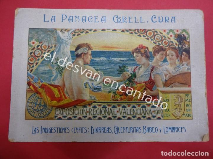 PANACEA CORELL. FARMACIA. TARJETA LITOGRÁFICA 16 X 11 CTMS. EXPOSICION VALENCIANA 1900 (Coleccionismo - Catálogos Publicitarios)