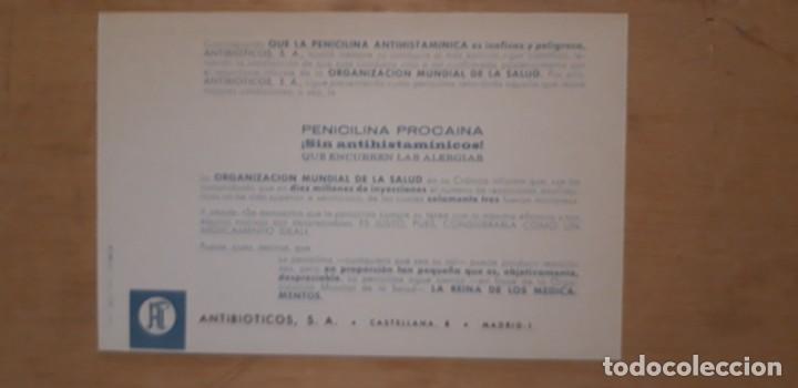 Catálogos publicitarios: 1 PUBLICIDAD DE ** AQUCILINA PENICILINA PROCAINA . NOVOCAINA ** ANTIBIOTICOS S.A. - Foto 2 - 194944457