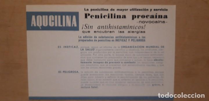 1 PUBLICIDAD DE ** AQUCILINA PENICILINA PROCAINA . NOVOCAINA ** ANTIBIOTICOS S.A. (Coleccionismo - Catálogos Publicitarios)