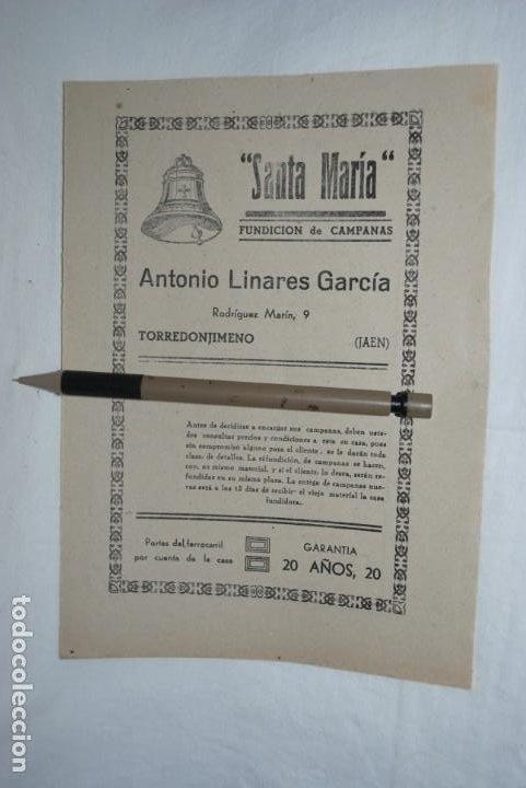 FUNDICION DE CAMPANAS , SANTA MARIA . JAEN . (Coleccionismo - Catálogos Publicitarios)