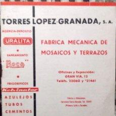 Catálogos publicitarios: 1960 DECADA, CATALOGO LISTAS DE PRECIOS DE TORRES LOPEZ DE GRANADA. Lote 194968267