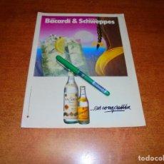 Catálogos publicitarios: PUBLICIDAD 1985: BACARDI Y TÓNICA SCHWEPPES. Lote 195059350
