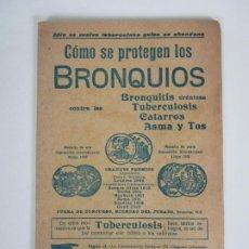 Catálogos publicitarios: CATÁLOGO JARABE FAMEL - COMO SE PROTEGEN LOS BRONQUIOS, TUBERCULOSIS, CATARROS, ASMA Y TOS. Lote 195111783
