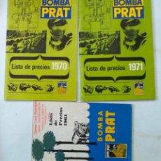 Catálogos publicitarios: LOTE DE CATALOGO LISTAS DE PRECIO DE BOMBAS PRAT AÑOS 60 - 70. Lote 195131931